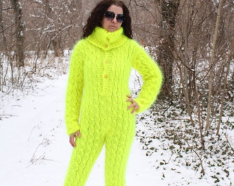 New Hand Knitted Mohair Pants,Sexy Union Suit,Neon Yellow,Thick and Fuzzy,Handmade