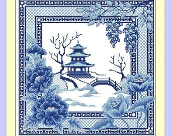 China. Digital Item, Instant PDF, Digital Download, Cross Stitch Pattern, Needlework, Embroidery