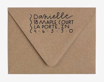 Minimal Organic - Custom Hand Lettered Return Address Stamp