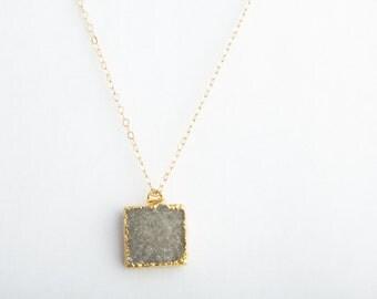 Smoky Square Druzy Crystal Necklace