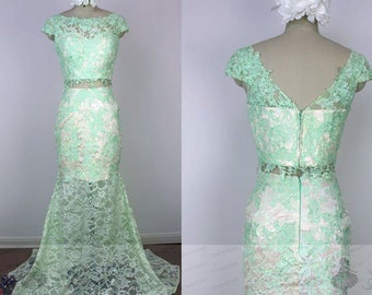 Prom Dress Mermaid,Prom Dress Two Piece,See Through Dress,Homecoming Dress Long,Long Mint Prom Dress,Graduation Dress,Prom Dresses Lace 2017