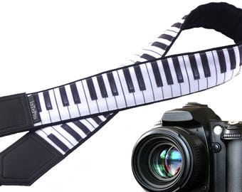Piano camera strap. Black and white camera strap. Piano keys. DSLR / SLR Camera Strap. Camera accessories. Gift for musician.