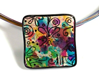 """Polymer Clay Pendant, Necklace, Handcrafted, OOAK, """"Whimsey"""" Series #1"""