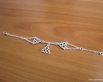 Celtic bracelet, lotus flower, fascino pagan handmade, celtic pendant, triquetra pendant