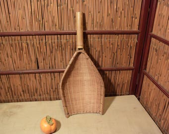 Vintage Chinese / Japanese Bamboo Basket Scoop