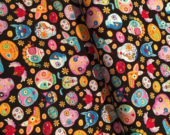 Timeless Treasures Sugar Skulls and Animals on black cotton woven