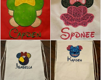 Disney Inspired Autograph Canvas Drawstring Backpacks. 100% Cotton.  Sale!