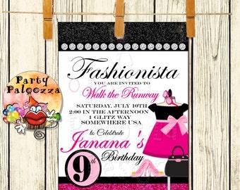 Printable Fashion  birthday Party Invitation/glamour/ make up/ sleep over/ fashion show