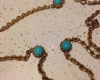 Gold Tone and Turquoise Colored Stone Long Chain Necklace