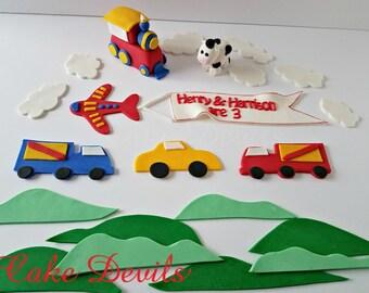 Modes of Transportation Fondant Cake Topper Kit - Train, Plane with banner, Truck, Cow, Car Cake Decorations, Handmade Edible cake decor