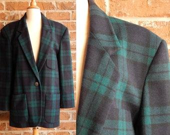 Vintage Womens Plaid Blazer/Green & Navy Plaid/Womens Size 12/Large/Brand: Donnybrook/Oversized Blazer/1980s Womens Blazer