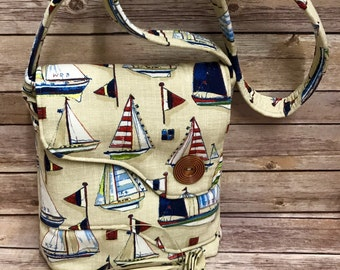 MESSENGER BAG! Nautical Crossbody Pruse. Large exterior pocket. Fully lined with interior pocket. One-of-a-Kind! Ready to ship!