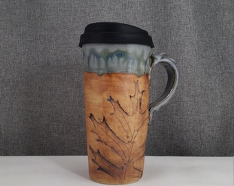 IN STOCK** Ceramic Travel mug / Commuter mug with silicone lid - Sage Blue / Leafs