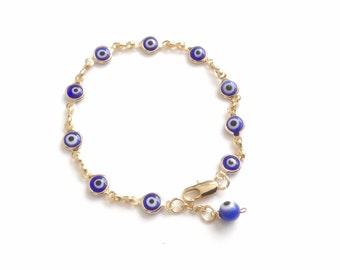 Gold evil eye bracelet, blue glass evil eye charm, Evil eye beaded bracelet, Evil eye Jewelry birthday jewish gift pulsera contra mal de ojo