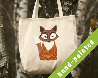 canvas bag/ fox tote bag/ fox gifts/ animal bag/ market bag/ cotton tote bag/ fox gift/ tote bag/ fox bag/ animal bag/ fox decor/ eco bag