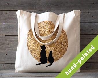 cat and dog / cat and dog tote bag/ cat dog / pet tote bag/ totes/ moon / canvas bag/ canvas tote bag/ cat dog purse/ handbag/ cats/ eco bag