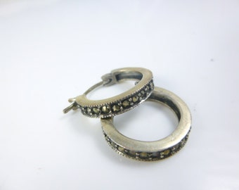 Sterling Silver Hoop Earrings, Marcasite Hoop Earrings, Marcasite Earrings, Hoop Earrings, Vintage Earrings