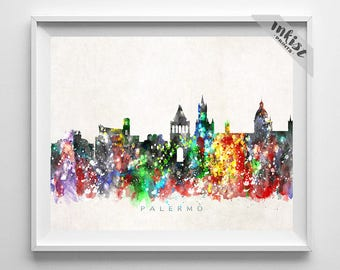 Palermo Skyline Print, Italy Poster, Palermo Wall Art, Italy Cityscape, Watercolor Painting, Giclee Art, Home Decor, Dorm Decor
