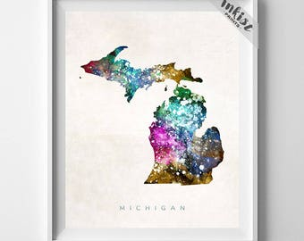 Michigan Map Print, Lansing Print, Michigan Poster, Lansing Map, Watercolor Painting, Map Poster, Home Decor, Maps, Dorm Decor