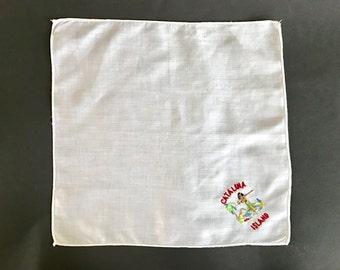 Vintage White Cotton California Souvenir Catalina Island Embroidered Handkerchief