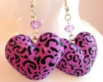Wild! Leopard print heart earrings with small AB bead on hook earrings for pierced ears by Toxic Heart Designs / Animal print- Leopard print