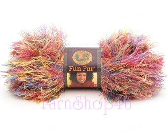 CONFETTI Multi Color Fun Fur. Variegated Fun Fur, Lion Brand Fun Fur, Mixed colors, Eyelash Yarn, Novelty yarn, Rainbow Fun Fur Ombre, 50g