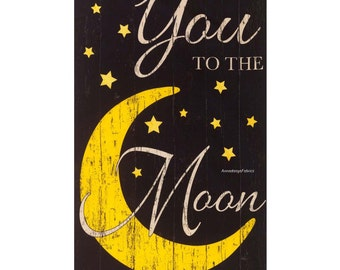 Baby Quilt Fabric Panel, I Love You to the Moon and Back, Timeless Treasures Moon C5157 Noir, Black and Yellow, Moon & Stars, Cotton Panel