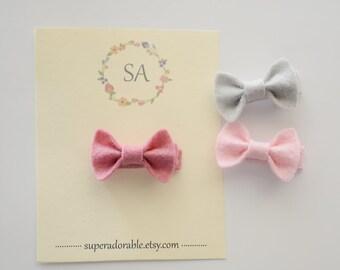 Tiny Felt Bow Clips, Pick your Colors - Baby Hair Clips - Clippies - Felt Bow Clips