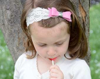 Lace Headband - Baby Girl Headband, Newborn Headbands,