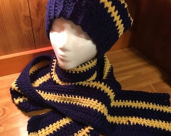 Navy and Gold Slouch Hat and Scarf Set