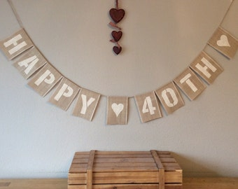 40th Birthday Bunting Banner. Vintage Hessian Burlap Rustic