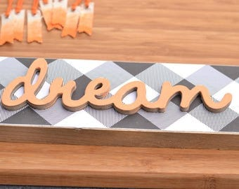 SALE: Black and White with Coral 'Dream' Wood Sign.