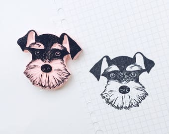 Schnauzer stamp. schnauzer dog stamp. schnauzer dog portrait. rubber stamp. handmade. hand carved stamp. mounted