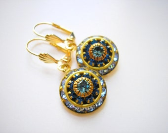 Vintage Swarovski Sapphire Aquamarine Crystal Dome Earrings Rare Art Deco style jewel Elegant Old Hollywood March September birthstone