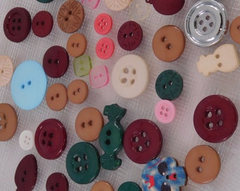 Button Soup - Button Lot - Button Supplies - Plastic - Sewing Supplies - 50 buttons