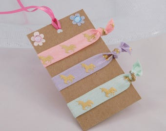 Unicorn Hair Ties - Unicorn Gift - Party Favors - Pink, Purple and Mint Green Elastic Ties