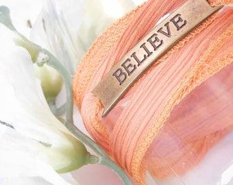 BELIEVE Bracelet - Inspirational Wrap Bracelet - Orange Tangerine - BOHO