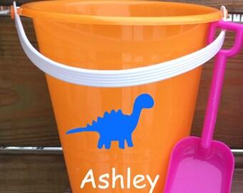 Sand Bucket Personalized, Dinosaurs, Summer, Kids, Beach, Sand,
