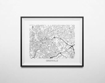 Greenville, South Carolina Abstract Street Map Print
