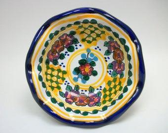 Vintage Mexican Talvera Clay Pottery Footed Dish - Boho Decor Trinket Holder