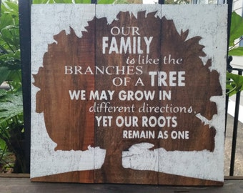 Our Family is like the brances of a tree. We may grow in different directions, yet our roots remain as one Wood Sign