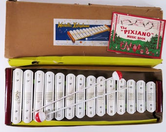 RESERVED FOR NICOLE - Vintage 40s / 50s toy tin & wood xylophone - comes with original box and the cutest song book!