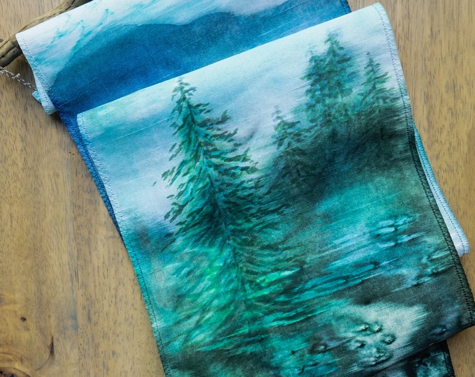 Nature Art-Watercolor Silk Tapestry-Mountain Tapestry-Rustic Wall Decor-Christmas Gift