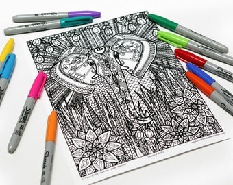 Mandala coloring, drawing #8463 printed on cardboard, coloring of relaxation, elephant, Africa, Asia