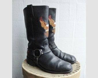 Black Vintage Harley Davidson Leather Boots // Size EU 44