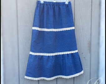 GIRLS DENIM SKIRT long modest skirt