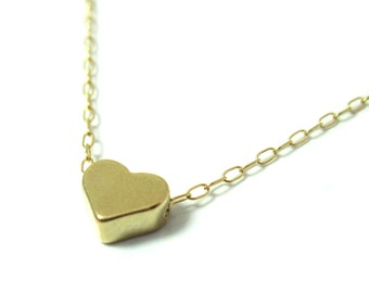 14K Gold Filled Tiny Heart Necklace , Gold Tiny Heart Necklace , Delicate Heart Necklace , Bridesmaid Gift , Friendship Necklace