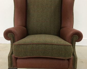 Harris Tweed and Leather Wing Chair
