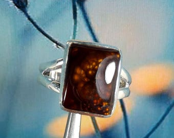 Mexican Fire Agate Ring, Unique Silver Ring, 925 Silver Ring, Mexican Fire Agate Jewellery, Mother Gift Ring, Gift Idea, Women Silver RIng