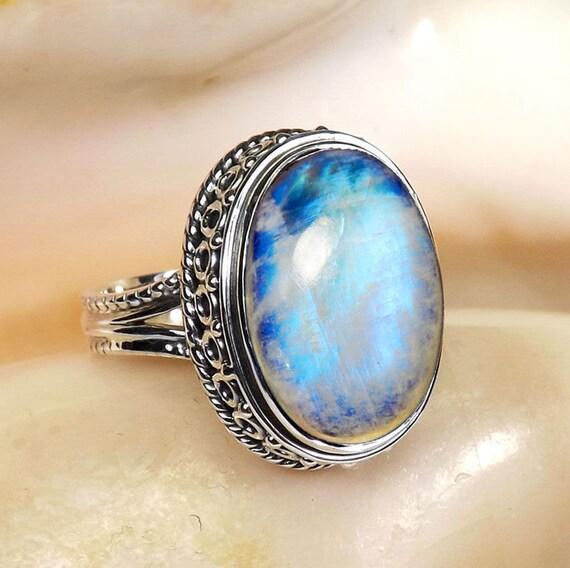 Rainbow Moonstone Ring Blue Fire Rainbow Moonstone Ring  Rainbow Moonsto...
